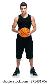 Full length portrait of a handsome basketball player with ball isolated on a white background. Looking at camera