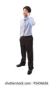 full length portrait of handsome business man speaking mobile phone isolated on white background, model is a asian