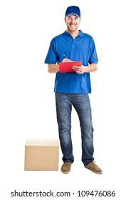 Full length portrait of an handsome deliverer