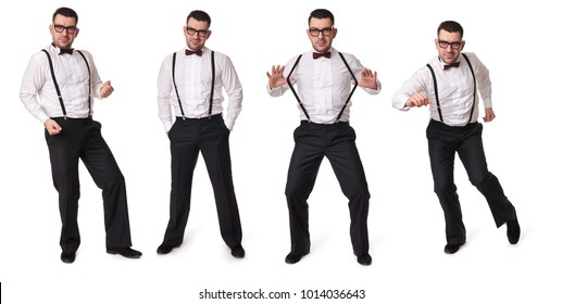 Full length portrait of a handsome guy with suspenders and bow tie. Isolated on white background