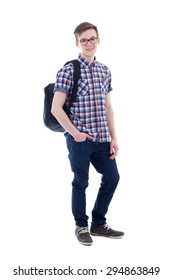 full length portrait of handsome teenage boy with backpack isolated on white background