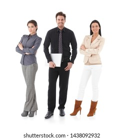 Full length portrait of happy business people looking at camera, smiling, isolated on white.