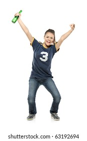 Full length portrait of a happy female sport fan with a beer in her hand isolated on white background