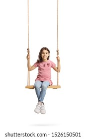 Full length portrait of a happy little girl sitting on a wooden swing isolated on white background