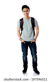 Full length portrait of a happy student with backpack over white background