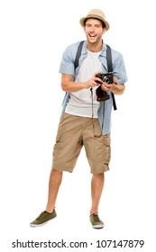 Full length portrait of happy tourist photographer man on white background