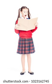Full length portrait of Korean schoolgirl holding open notebook