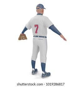 Full length portrait of a male baseball player on white. Rear view. 3D illustration
