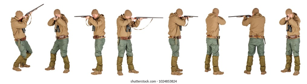 Full length portrait of a male hunter with double barreled shotgun Isolated on white background. hunting and people concept.