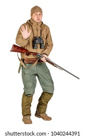 Full length portrait of a male hunter with stop gesture Isolated on white background. hunting and people concept.