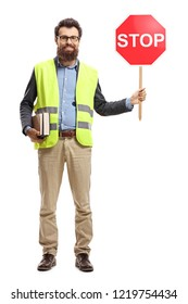 Full length portrait of a man holding books, wearing safety vest and holding stop sign isolated on white background
