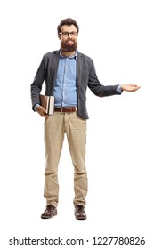 Full length portrait of a man holding books and making welcome gesture isolated on white background