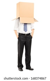 Full length portrait of a man standing with a cardboard box on his head isolated on white background