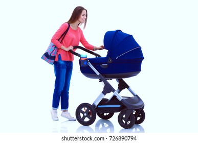 Full length portrait of a mother with a stroller, isolated on white background. Young mom
