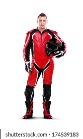 Full length portrait of a motorcyclist biker in red equipment holding helmet isolated on white background