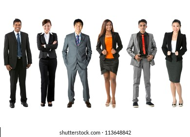 Full length Portrait of a multi-culural business team. Isolated on a white background.
