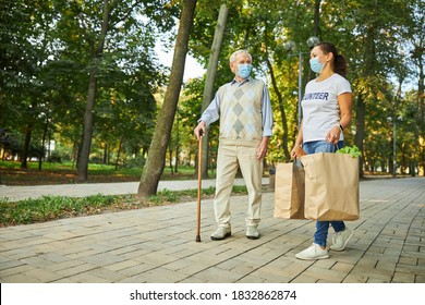 Full length portrait of old handsome male talking with female volunteer in the park while woman carrying packages with foodstuff for him