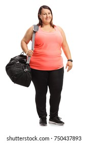 Full length portrait of an overweight girl with a sports bag isolated on white background