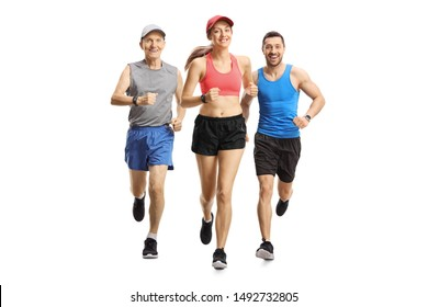 Full length portrait of people running a race isolated on white background