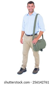 Full length portrait of postman with shoulder bag on white background