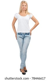 Full length portrait of pretty young woman in casual wear, against white background