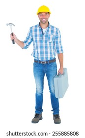 Full length portrait of repairman with hammer and toolbox on white background