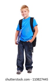 Full length portrait of a schoolboy isolated on white background