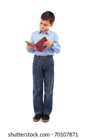 Full length portrait of a schoolboy reading a book