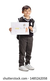 Full length portrait of a schoolboy showing a drawing of an airplane isolated on white background
