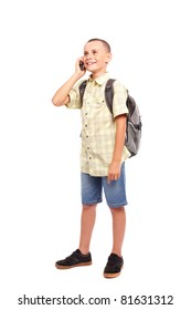 Full length portrait of a schoolchild with backpack isolated on white background