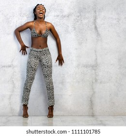 Full length portrait of screaming african woman against concrete wall.Young girl dressed in leopard skin pants and bikini top.