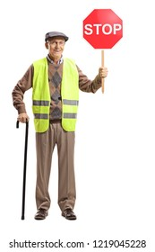 Full length portrait of a senior man wearing safety vest and holding stop sign isolated on white background
