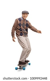 Full length portrait of a senior riding a longboard and smiling isolated on white background