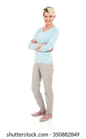 full length portrait of senior woman on white background