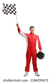 Full length portrait shot of a racer holding a checkered flag and a helmet isolated on white background