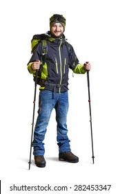 full length portrait of smiley hiker with backpack and hiking poles. isolated on white background