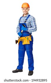 Full length portrait of smiling young male construction worker with hammer,wearing protective clothes,gloves and helmet isolated on white background