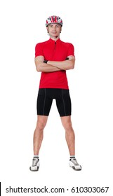 full length portrait of a standing cyclist in a white studio