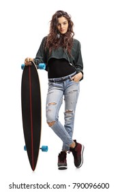 Full length portrait of a teen girl with a longboard isolated on white background