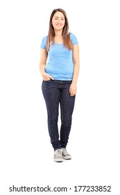 Full length portrait of a teenage girl posing isolated on white background