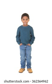 A full length portrait of a young boy isolated on white