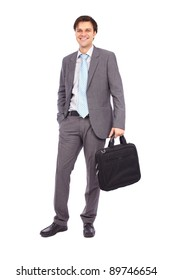 Full length portrait of a young businessman isolated on white background