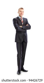 Full length portrait of a young businessman standing with his hands holding