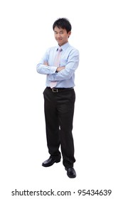 Full length portrait of a young businessman standing with smile isolated on white background, model is a asian