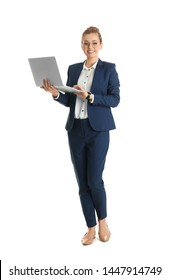 Full length portrait of young businesswoman with laptop isolated on white