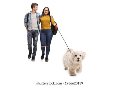 Full length portrait of young couple students walking a white maltese poodle dog isolated on white background