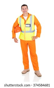 full length portrait of young electrician on white