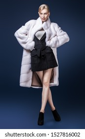 A full length portrait of a young fashionable woman in a white mink coat. Beauty, fashion.