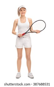 Full length portrait of a young female tennis player holding a racket isolated on white background
