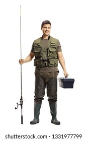 Full length portrait of a young fisherman posing with a fishing rod and a case isolated on white background